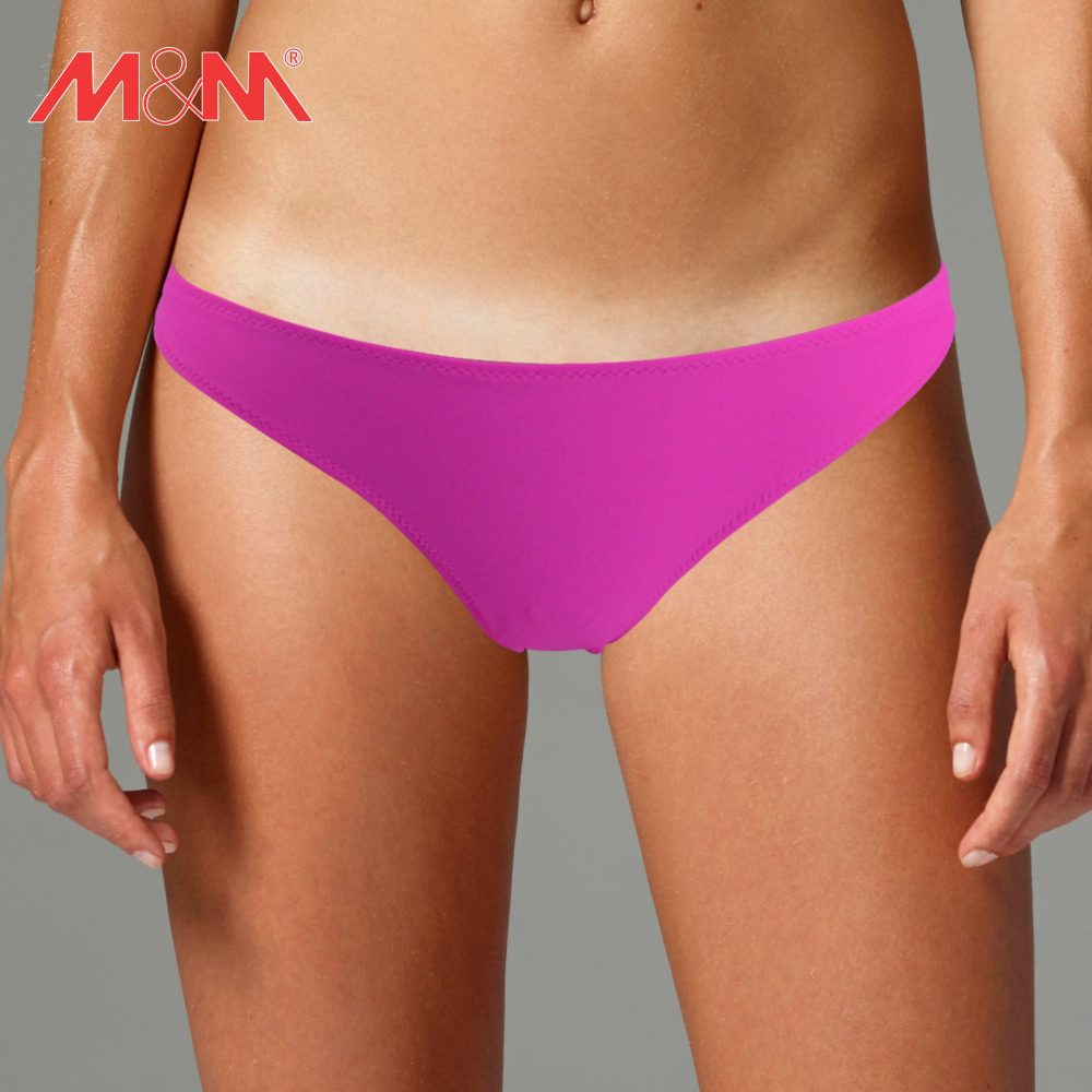 a5910adae M M Women Purple Beach 2016 Summer Girls Sexy Solid Bikini Bottom Low Waist  Swim Briefs Cheeky Swim Shorts