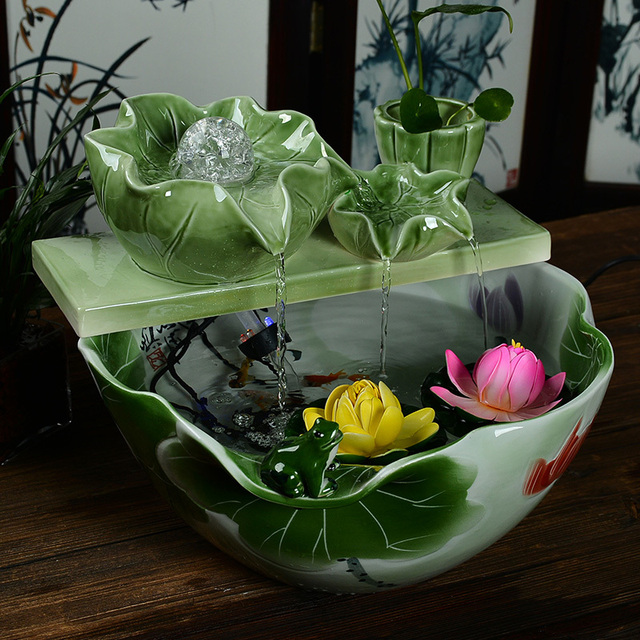 Celadon Ceramic Water Filter Water Fountain Desktop Waterscape Decoration Feng Shui Living Room