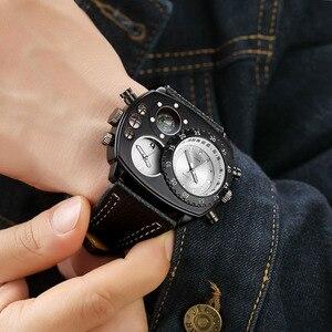 Image 2 - Oulm Rahat gerçek deri kayışlı saatler Erkekler Lüks Iki Zaman Dilimi Kuvars Saat Büyük Arama Erkek Spor Kol Saati