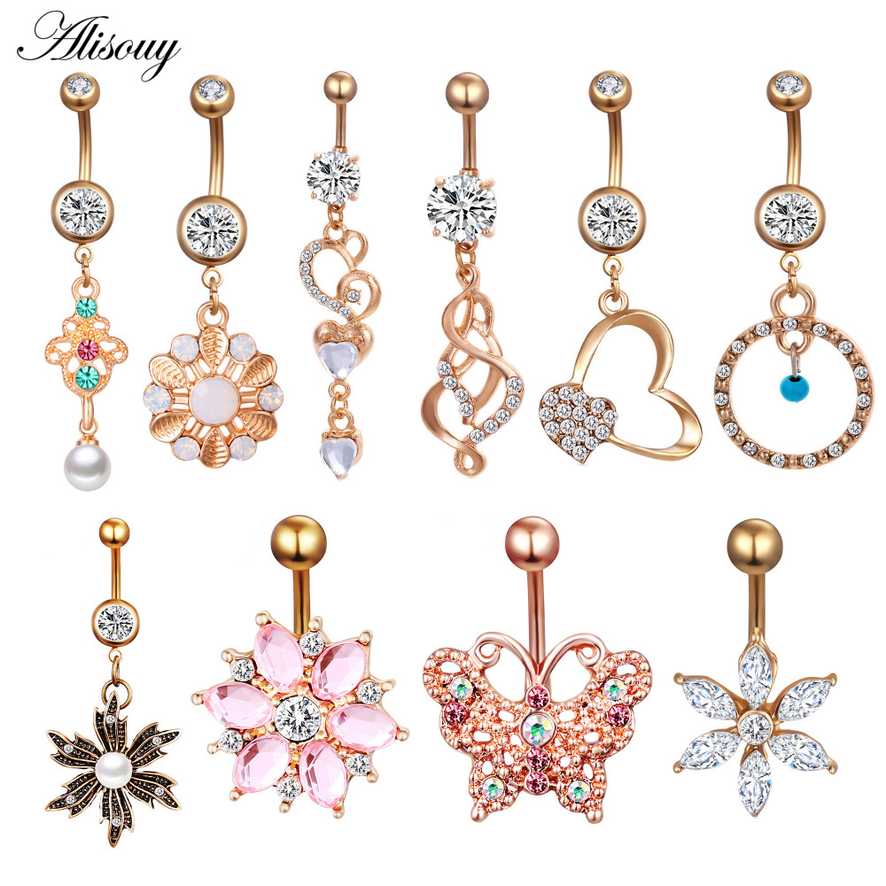 Alisouy Love Heart Belly Button Rings Bar Gold Color Surgical Metal Piercing Sexy Body Jewelry For Women CZ Navel Piercing Rings