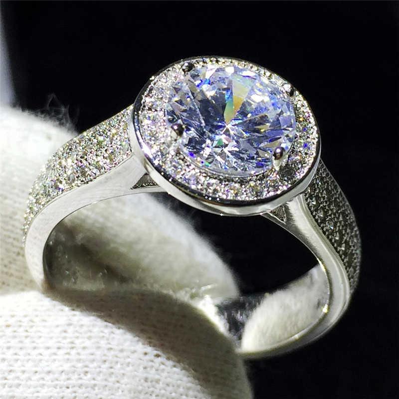 Handmade Solitaire เครื่องประดับ 925 เงินสเตอร์ลิงแหวน Sona 2ct 5A zircon แหวนหมั้นแหวนผู้หญิงผู้ชายของขวัญ