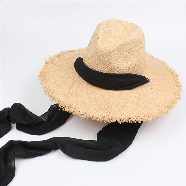 e536cdeadf2 NEW Floppy 100%Raffia Sun Hats For Women Black Ribbon Lace Up Large Brim  Straw