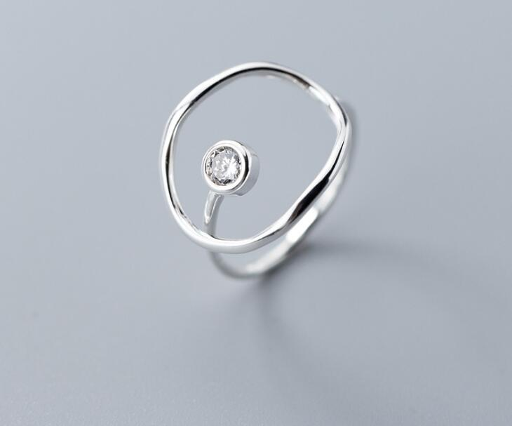 Authentic REAL. 925 Sterling Silver Open Circle With White Cz Geometric Rings AdjustJewelry GTLJ1652