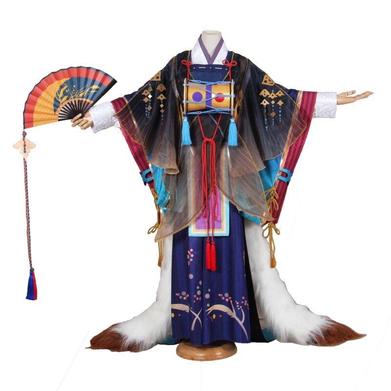 Anime! Onmyoji Tamamo aucune Mae Nouveau Personnage Peau Magnifique Kimono tenue uniforme costume cosplay évantail complet Pour Unisexe Livraison Gratuite