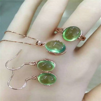 Thai silver 925 sterling silver jade ring pendant earrings accessories women's 4 times water green cat's eye on the new suit