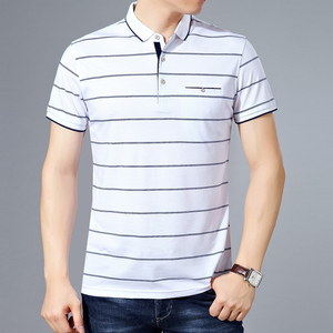 Image 3 - MIACAWOR New Slim Fit  Polo shirts Men Cotton Fashion Striped Men  Summer Short sleeve Tee shirt Homme Casual Camisa  T718