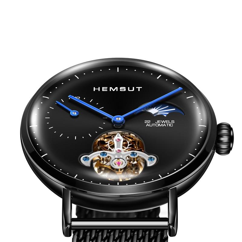 Black Mechanical Automatic Watch Men Moon Phase Luminous Stainless Steel Waterproof Top Brand Luxury Men Watches 2019-in Mechanical Watches from Watches    1