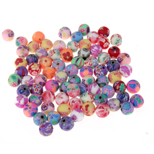 50pcs 6mm Fimo Polymer Clay Beads Printing Flower Pattern Round Loose Beads Mix Color For Jewelry Making