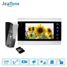 1 монитор + 1 видеоглазок + 16 г SD карты домофоны для частного дома 7 дюймов Сенсорная Кнопка видео Дверные звонки домофон Водонепроницаемый дверь домофон Бесплатная доставка