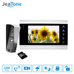 1 монитор + 1 видеоглазок + 16 г SD карты домофоны для частного дома 7 дюймов Сенсорная Кнопка видео Дверные звонки домофон Водонепроницаемый