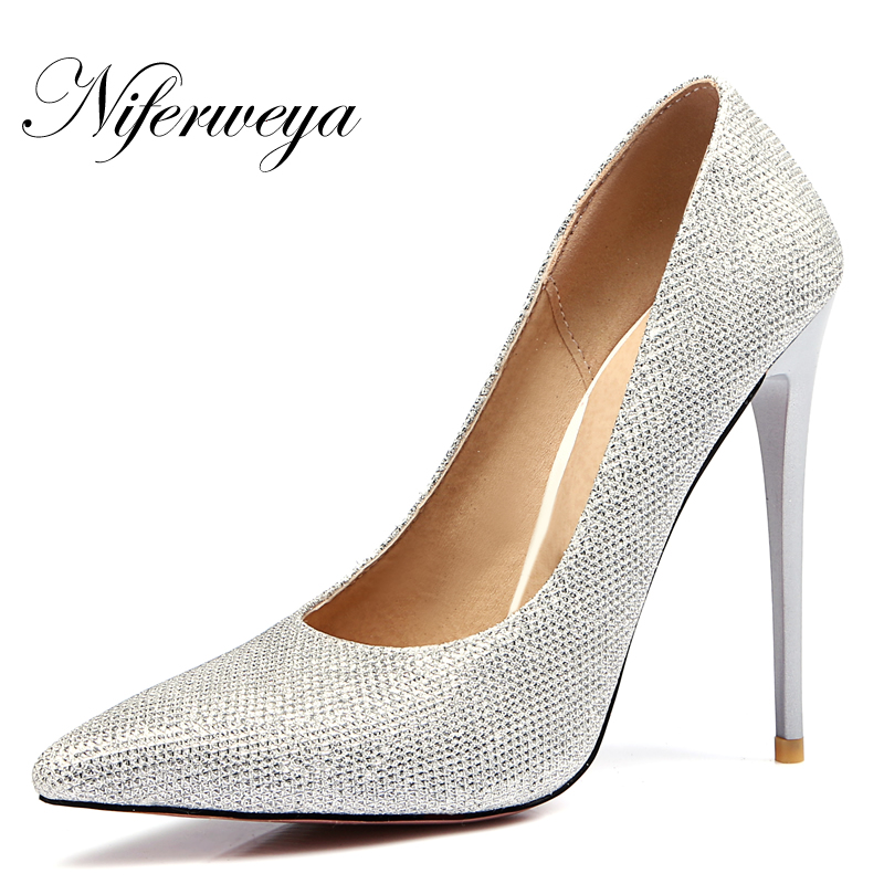 где купить Big size 34-47 Spring/Autumn women pumps Sexy Pointed Toe gold wedding shoes 12 cm thin heel Shallow high heels zapatos mujer дешево