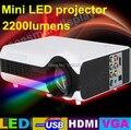 Dhl бесплатная доставка портативные 2200 Lumens микро-hdmi тв домашний кинотеатр HD видео из светодиодов жк-проекторы projetor proyector с USB VGA