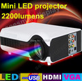 Envío gratis DHL Portable 2200 lúmenes HDMI TV Home theater HD Video 3D LED proyectores LCD projetor proyector con USB VGA