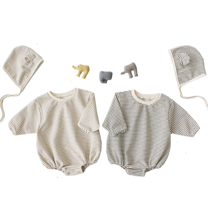 Spring New Baby Bodysuits +hat Stripe Korean Style Infant Girls Bodysuits Long Sleeve Baby Girls Outfit Cotton Baby Clothes 2019