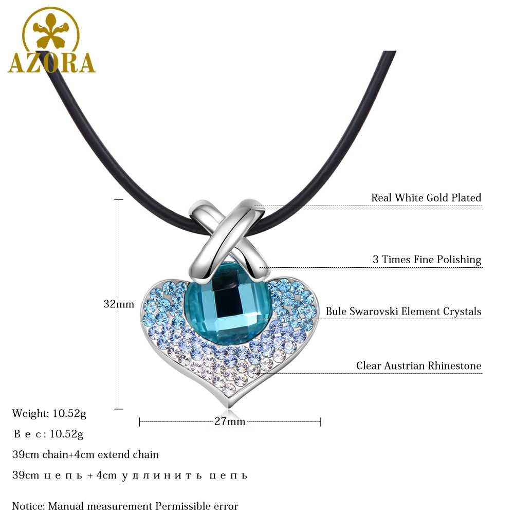 AZORA Grande Collana Del Pendente Del Cuore per la Cerimonia Nuziale Pavimentato Blue Austriaco Cristalli di Colore Argento Gioelleria raffinata e alla moda del Regalo di Natale TN0271