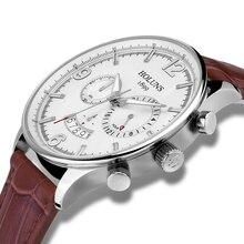 Lujo HOLUNS reloj de los hombres correa de cuero cristal de zafiro resistente al agua fecha de Cuarzo Multifunción reloj de pulsera relogio masculino