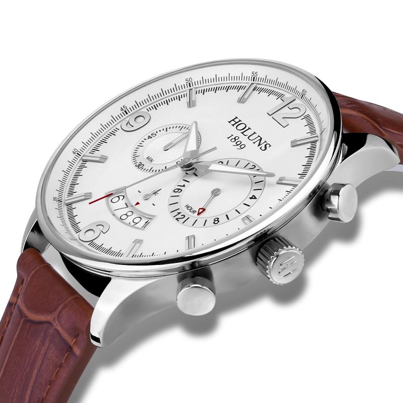 Montre de luxe HOLUNS hommes saphir verre bracelet en cuir étanche date multifonction Quartz montre-bracelet relogio masculin