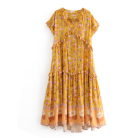 Summer New Arrival Ruffle Designed V neck Short Sleeves Flower Printed Split Casual Cotton Dress Yellow FS0842