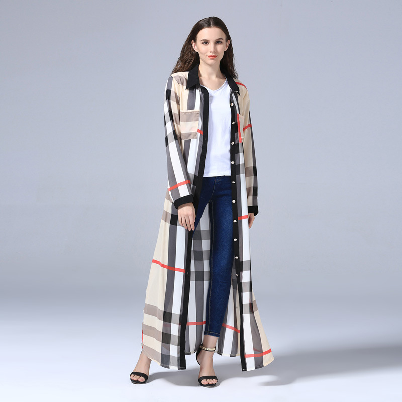 Plaid Cardigan Islamic Clothing Long Dress Muslim Dress Arab Women Fashion Robe Dress Abaya Ethnic Muslim Women Kaftan Dress (5)