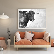 White & Black Bull Cow Animal Canvas Painting HD Print Pencil Drawing for Modern Home Decoration Wall Art Fashion Gift Wholesale