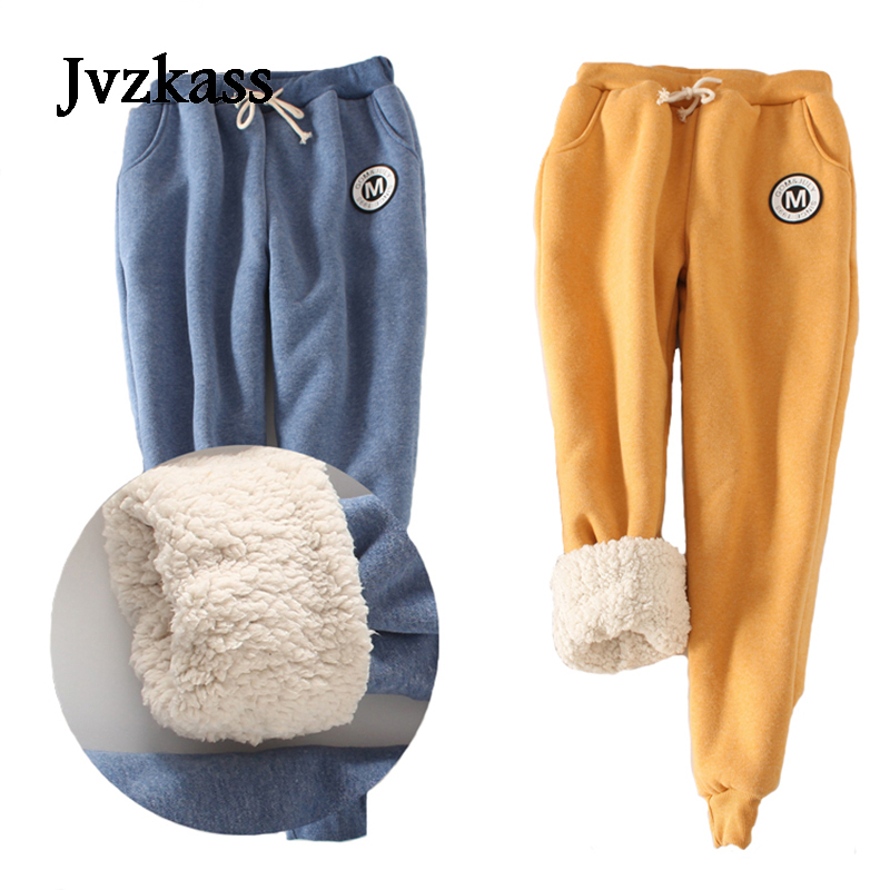 Jvzkass 2019 autumn and winter women thick lambskin cashmere pants warm female casual pants loose Harlan pants long trousers Z11|pants loose|long trousers|cashmere pants - title=