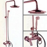 Античная красная медь латунь ванная комната смеситель для душа набор кран для ванны, душа ванна душ кран дождевая душевая головка arg009