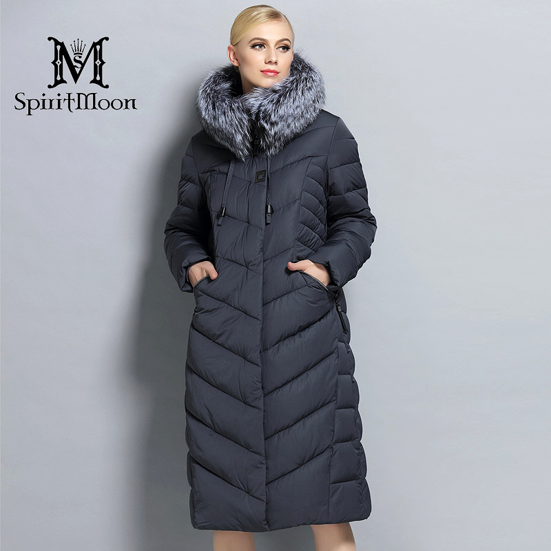 SpiritMoon 2017 Women Winter Down Jacket Winter Coat Women Hooded Parka With Natural Fur Collar Silver