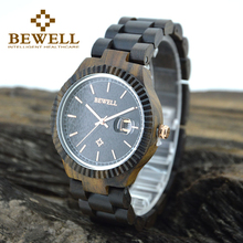 BEWELL New relogio Mens Casual Wooden Round Watches Top Brand Luxury Men's Watches Complete Date Moment Clock Famous Brands 112A