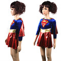 2017 new child supergirl Sexy girl super hero costume cosplay party for super girl costume kids superman dress fashion new