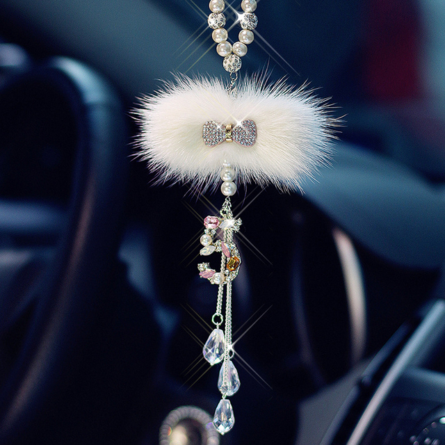 Bling Car Hanging Accessory For Girls Diamond Bowknot Pendant In Car Rearview Mirror Ornament Luxury Crystal Auto Interior Decor