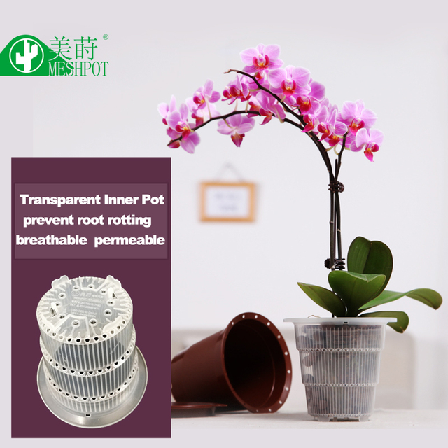 Meshpot Clear Plastic Orhid Flower Pot Garden Pot Planter Container Home Decoration Excellent Drainage Inner Dia. 10cm
