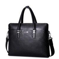 New Men's Genuine Full Grain Leather Black Top Handle Tote Business Bag Work Briefcase Casual Crossbody Strap Shoulder Bag