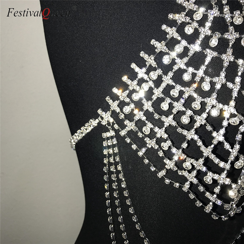 FestivalQueen bling metallic diamond crop top women sexy Beach backless rhinestone tassel body hollow chain nightclub party top