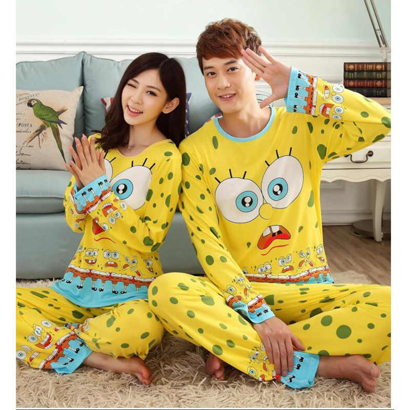 95a9e195b2 Fashion Spring Autumn Pajamas Long Sleeve Cute Cartoon Cat Couple Pajamas  Suits Men Women Casual Pullovers
