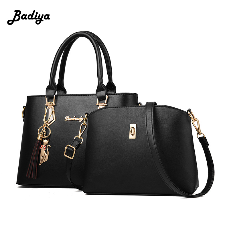 2 Pieces Sets Women Fashion Handbag PU Leather Handle Tote Ladies Crossbody Shoulder Bag Composite Bag Female Bolsa Sac women bag set top handle big capacity female tassel handbag fashion shoulder bag purse ladies pu leather crossbody bag