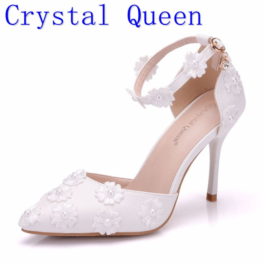 Crystal Queen Sandals High Heels Women Sexy Style And Pointed Toe Buckle Strap White Lace Flower Wedding Shoes Summer Shoes