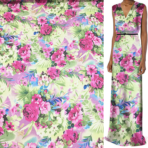 Pink floral and green leaves design 100% silk chiffon silk fabric 8mommme,SCF069