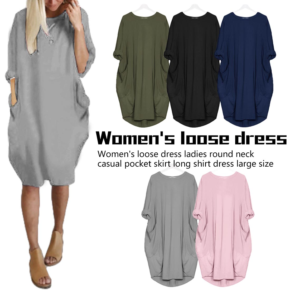 Women Solid Long Maxi Dress Pocket Short Sleeve Loose Harajuku Dresses Plus Size