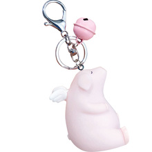 2019 Cute Cartoon Angel Piglet elephant Keychain For Ladies Creative Car Bag Charms Accessories Anime Couple Key chain ring
