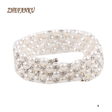 Newly Arrival Trendy And Charming Simulated Pearl Multilayer Stretchable Woman Bracelet 2 Styles