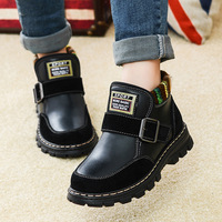 2016 New Arrivals Boys And Girls Gennuine Leather Shoes Brand Non Slip Botom Shoes Short Fur