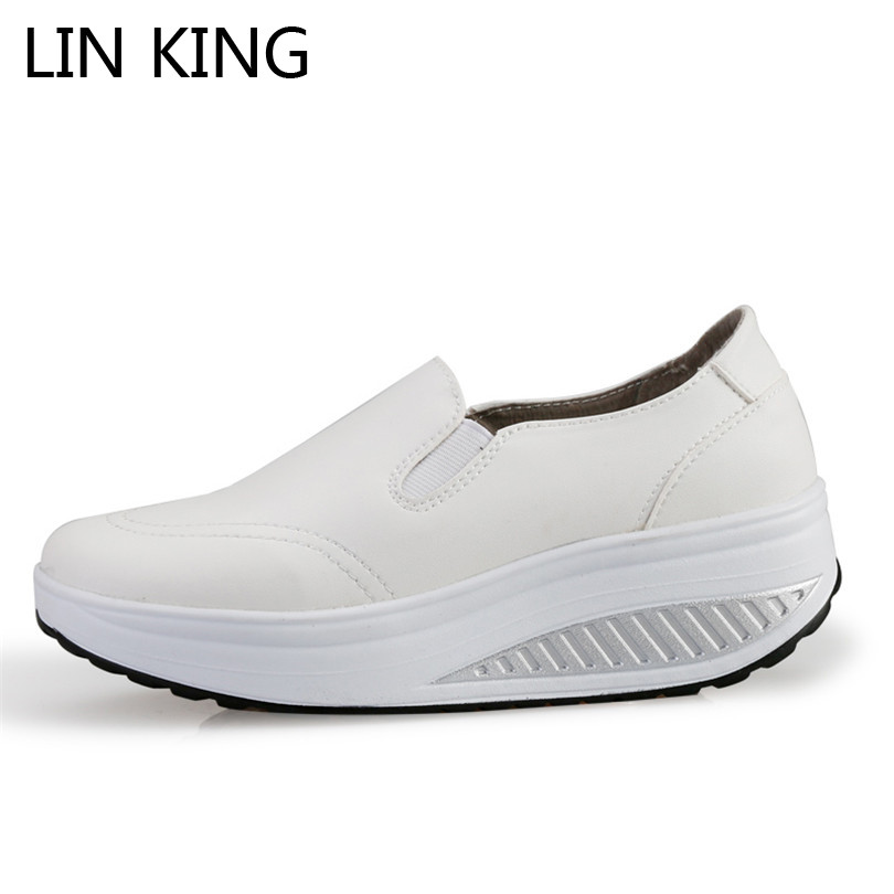 где купить LIN KING Swing Shoes Breathable PU Leather Flat Women Platform Shoes White Soft Nurse Shoes Woman Work Cut-out Spring Shoes по лучшей цене