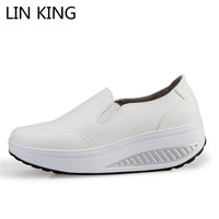 LIN KING Swing Shoes Breathable PU Leather Flat Women Platform Shoes White Soft Nurse Shoes Woman