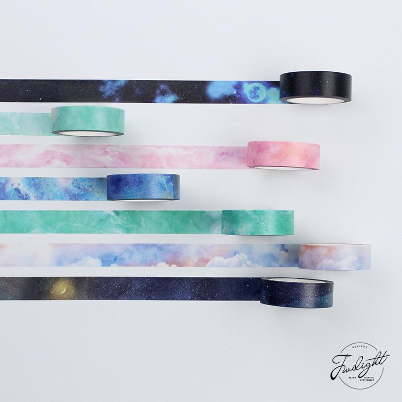 15MM*8M 1 Roll MY DREAM FANTACY Series Japanese Washi Tape Polar Light Starry Masking Tape Adhesive Tape DIY Decorative Sticker серьги клипсы fantacy