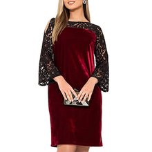 6XL Plus Size Women Tunic Off Shoulder Elegant Dress Autumn Lace Patchwork Party Dress Velvet Straight Dresses