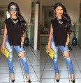 2015 Mediados de Cintura de Jeans Mujer Rodilla Flaco Lápiz Pantalones Delgados Denim Ripped Boyfriend Jeans Para Mujeres Pantalones Rotos Moda Blanco pantalones vaqueros