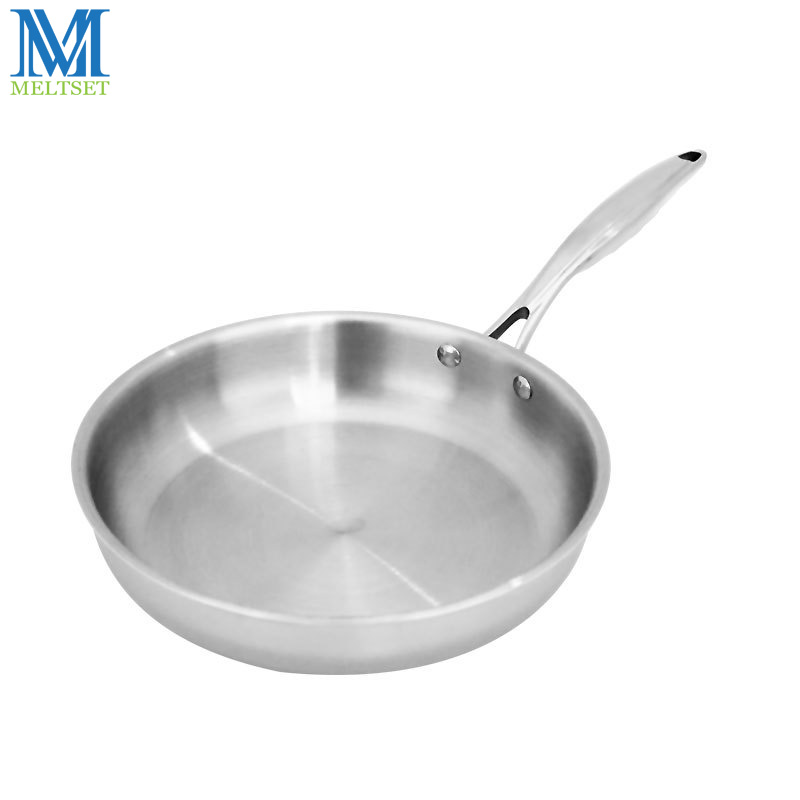 Meltset Stainless Steel Frying Pan Uncoated Non Stick Skillet Pan With/Witout Lid 24cm/26cm Kitchen Cookware Saucepan