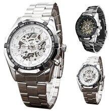 FHD марка Металла ремешок мужчины мужской военная часы автоматическая Скелет механические Часы самостоятельной ветер Старинные роскошные качество оптовая