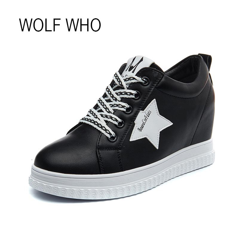WOLF WHO 2018 Spring Hidden Heels Leather Women Sneakers White Platform Wedge Ladies Shoes High Top Casual Female Sneakers H-196 wolf who 2018 spirng winter women genuine leather shoes high top women platform shoes creeper platform sneakers wedge h 181