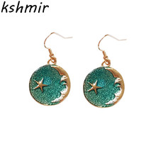 2018 fashion exquisite earrings planet pink blue dream The stars of the moon Ms and collars